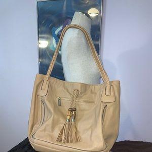 Big Buddha Tan Faux Leather Women's Handbag Zipper